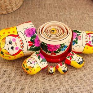 Matroschka Handgemacht Babuschka Matrjoschka Holz Puppen Geschenk Traditionelle Russische